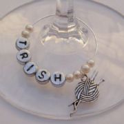 Knitting Personalised Wine Glass Charm